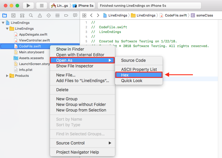 Xcode tidbits: Open as Hex, Open As Source Code, (Git) line