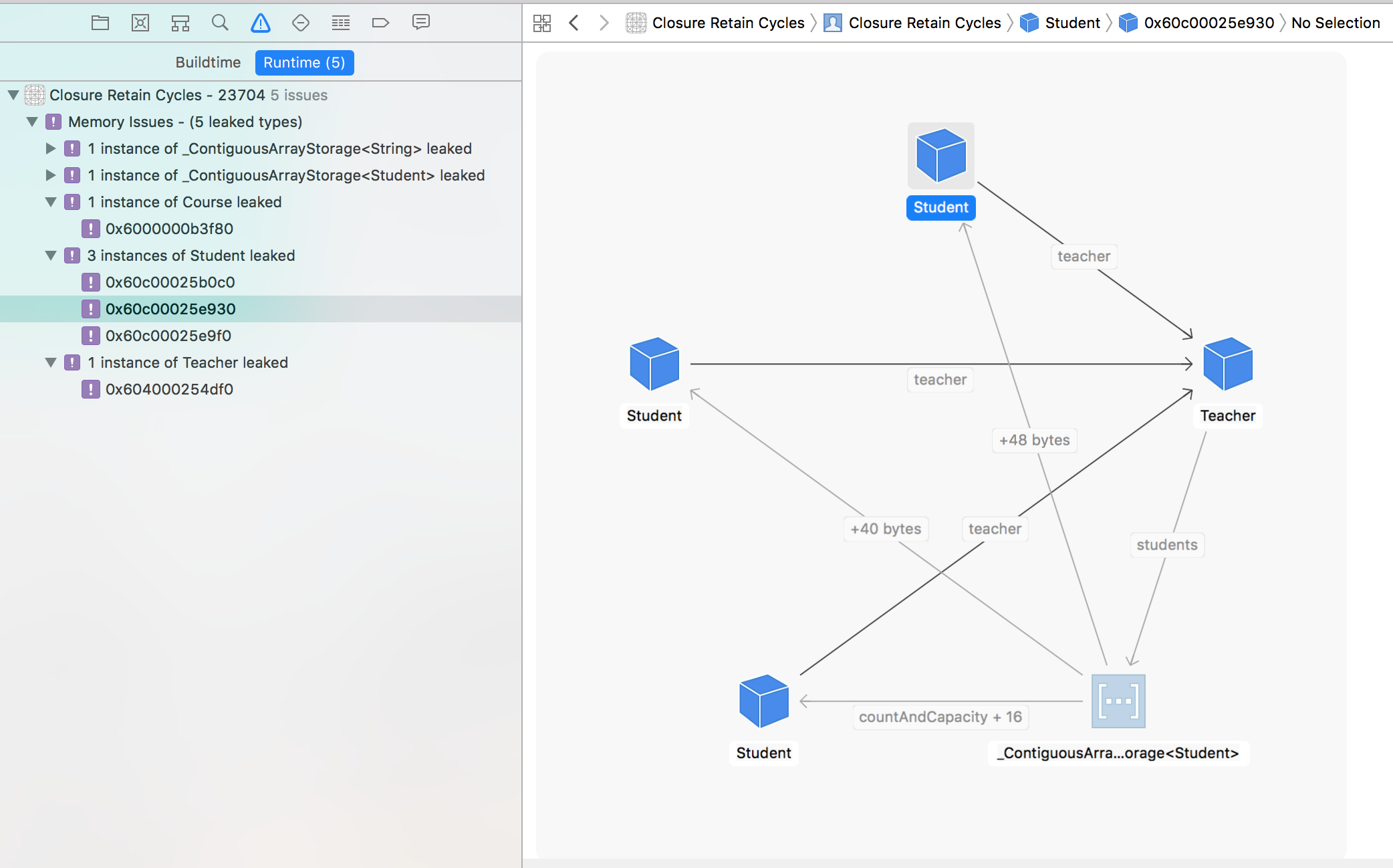 Finding memory leaks with the Xcode Memory Graph Debugger and fixing